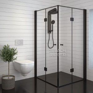 מקלחון אקורדיון בגימור שחור דגם לופ שחור