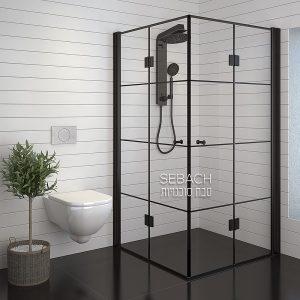 מקלחון אקורדיון גימור שחור קוביות דגם לופ