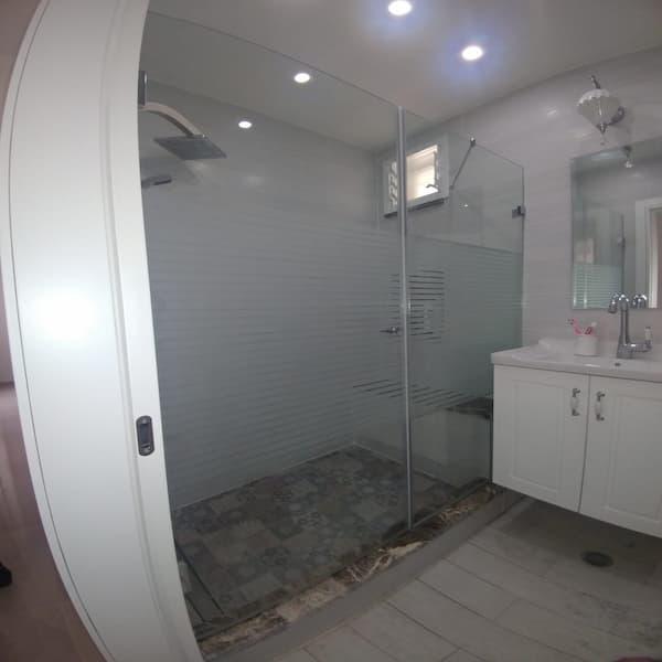 """מקלחון 8 מ""""מ קבוע ודלת זכוכית פסים"""